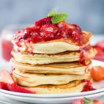 Fluffy Ricotta Pancakes with Strawberry Sauce is super moist. Easy Ricotta Pancakes are perfect breakfast or for brunch.