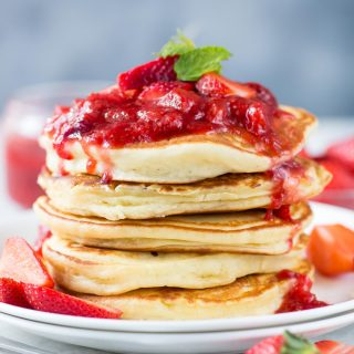 Fluffy Ricotta Pancakes with Strawberry Sauceis super moist. Easy Ricotta Pancakes are perfect breakfast or for brunch.