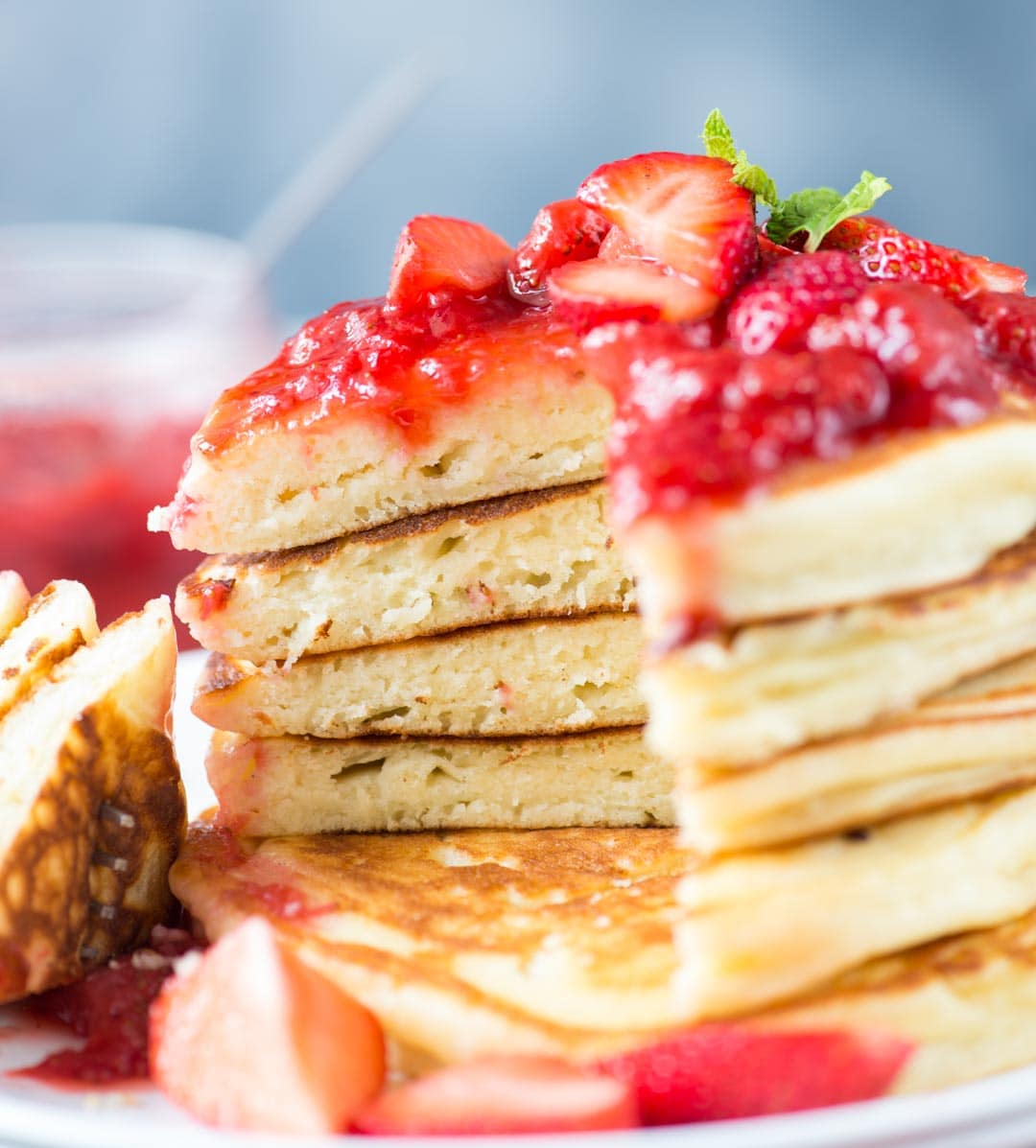 Fluffy Ricotta Pancakes with Strawberry Sauce is super moist Perfect breakfast or for brunch.