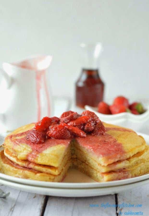Ricotta pancakes with fresh strawberry vanilla sauce ~ winter delight