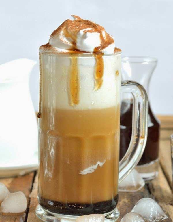 Cold coffee with vanilla brown sugar cinnamon syrup
