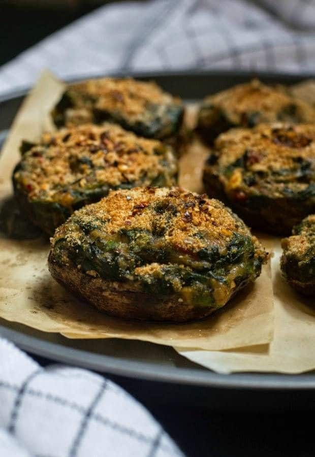 Creamy spinach stuffed portobello mushrooms