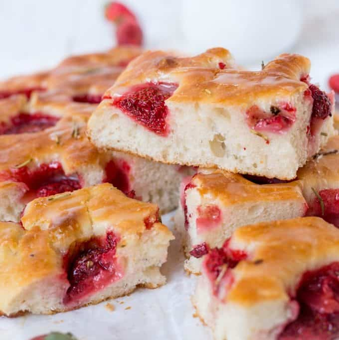 Strawberry Rosemary Focaccia with Maple Glaze