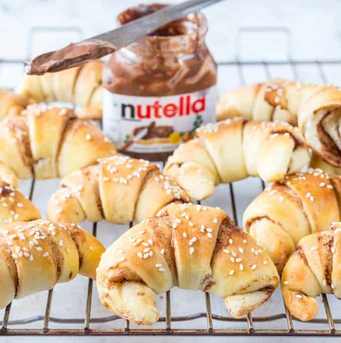 NUTELLA STUFFED POTATO CRESCENT BREAD ROLLS