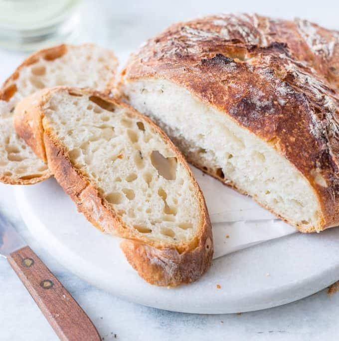 No-Knead Rustic White Bread