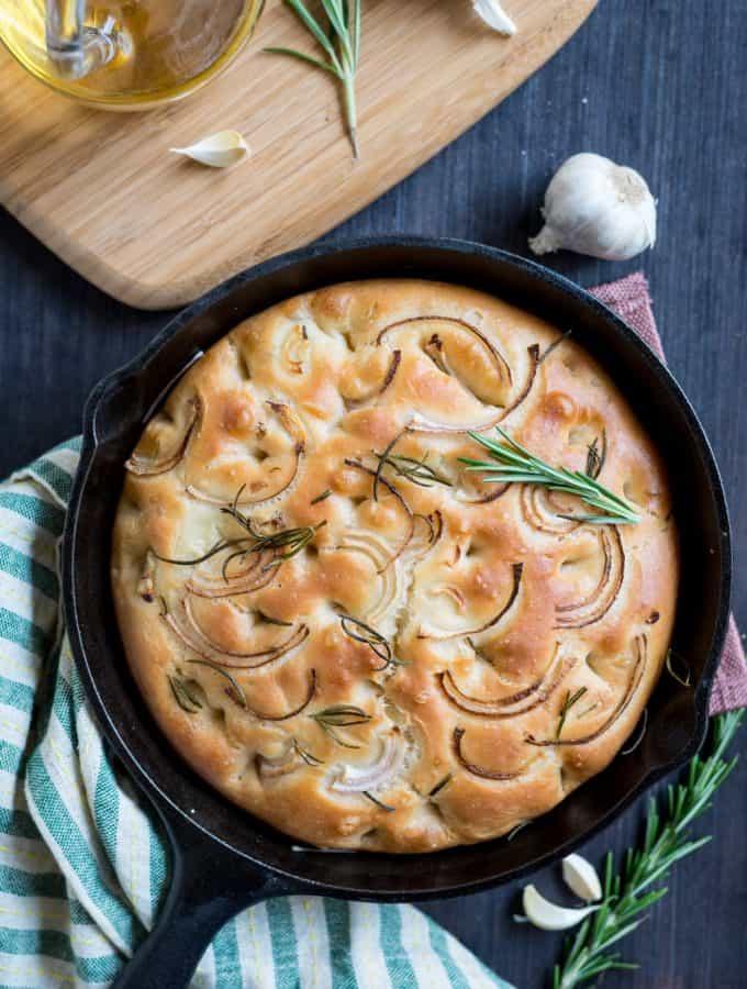 No Knead Roasted Garlic and Rosemary Focaccia