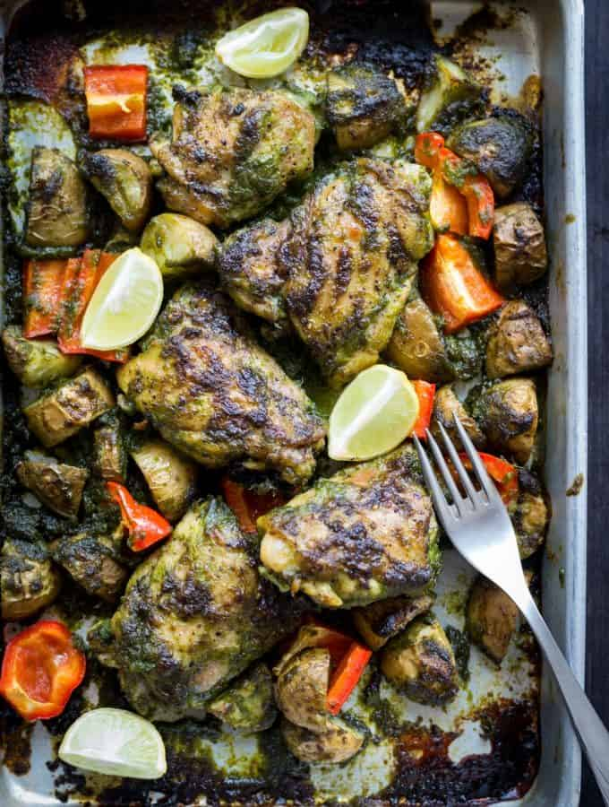 Roasted Cilantro Chilli Chicken Thighs and Potatoes