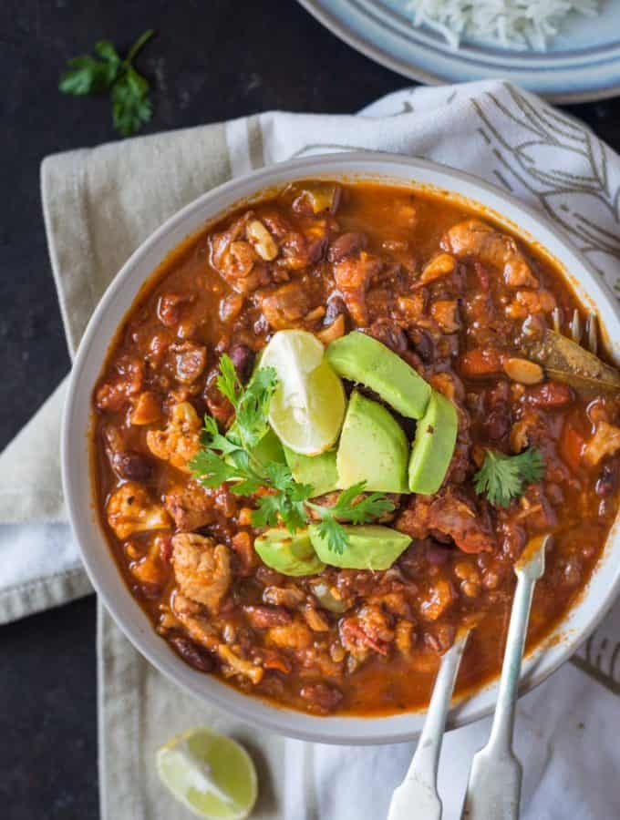 Cauliflower Chicken Chili
