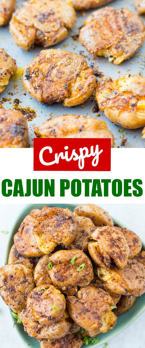 Baked Crispy Cajun Potatoes are seasoned with spicy Cajun spice mix and baked until perfectly crisp on the outside. These crispy baby potatoes made with only three ingredients addictive and a crowd pleaser for sure.