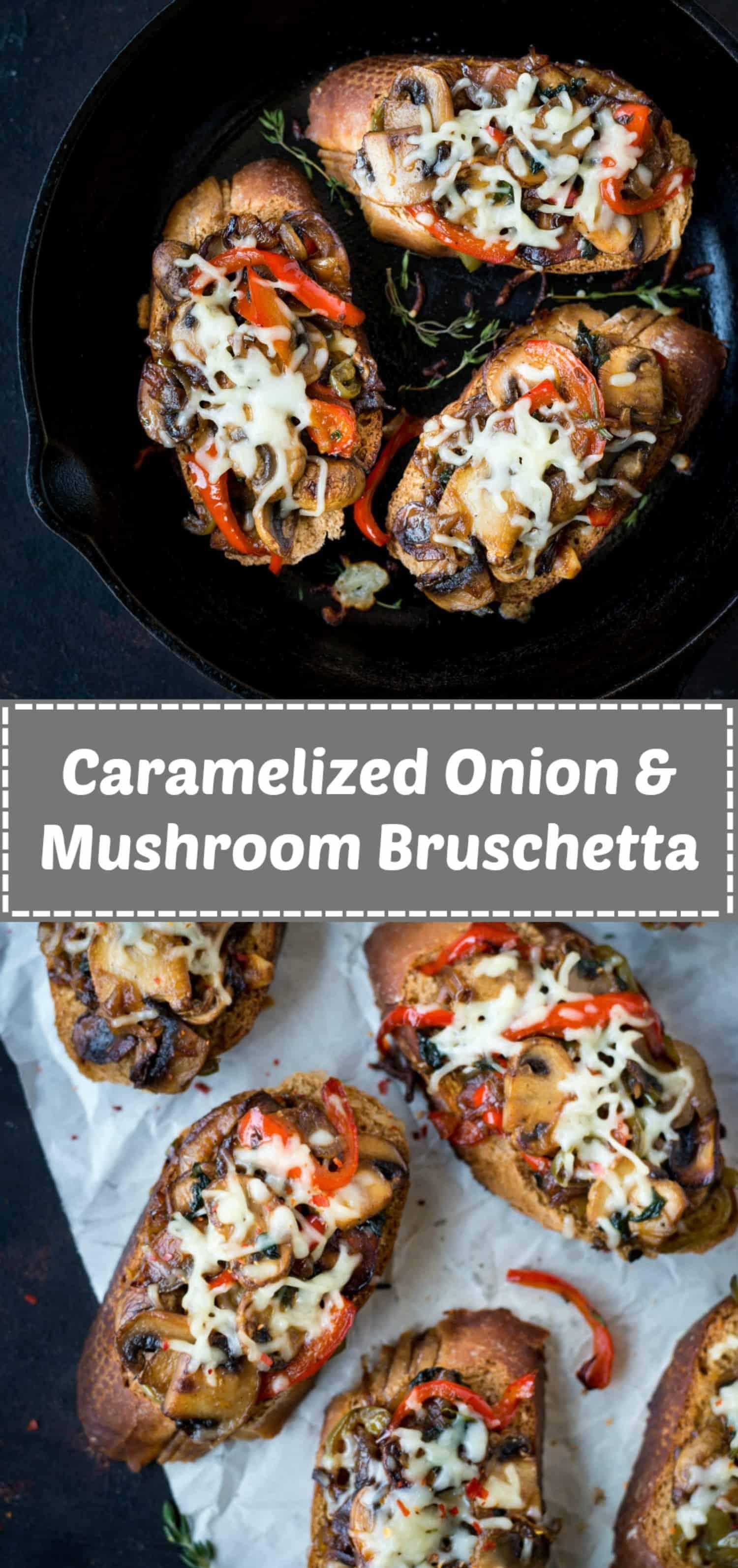 caramelized onion mushroom bruschetta