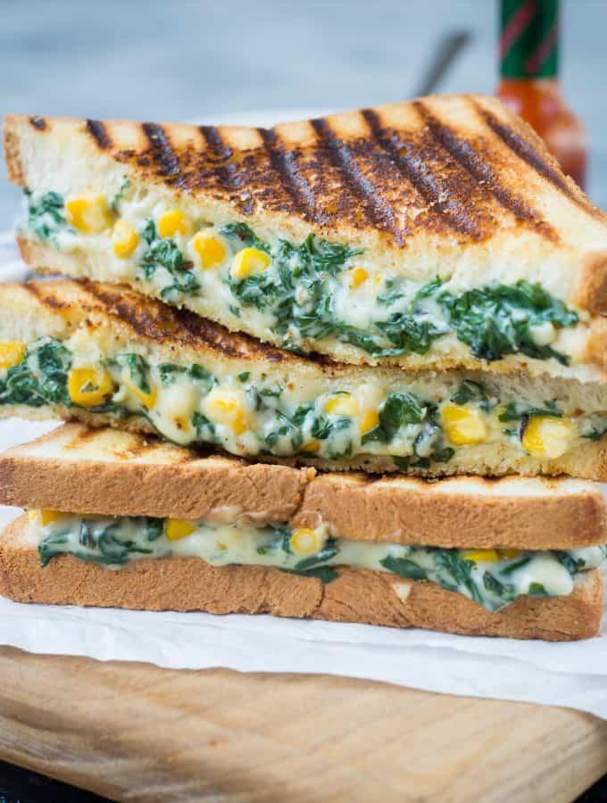 Spinach Corn Sandwich – Video recipe