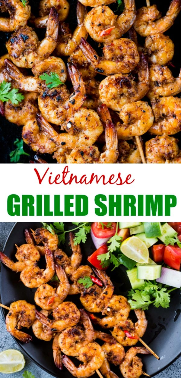 Vietnamese Grilled Shrimps are Shrimps marinated in lemongrass, fish sauce, spices and grilled till golden brown. Refreshing lemon flavour, pungent fish sauce and aromatic spices make grilled shrimps so delicious.