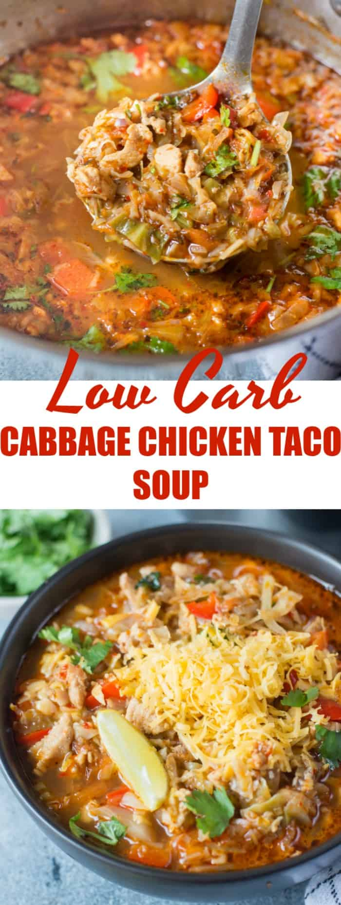 This Low Carb Cabbage Chicken Taco Soup is light, healthy and perfect if you are on a weight loss journey. It is also a Keto friendly recipe. Just add Corn, Kidney beans and top it with nachos to make it more wholesome.