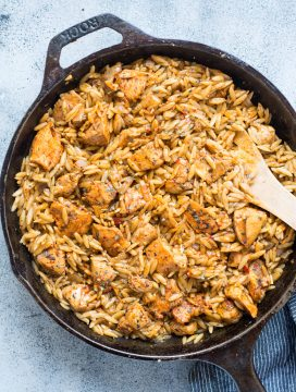 One Pot Spicy Tomato Basil Chicken With Orzo