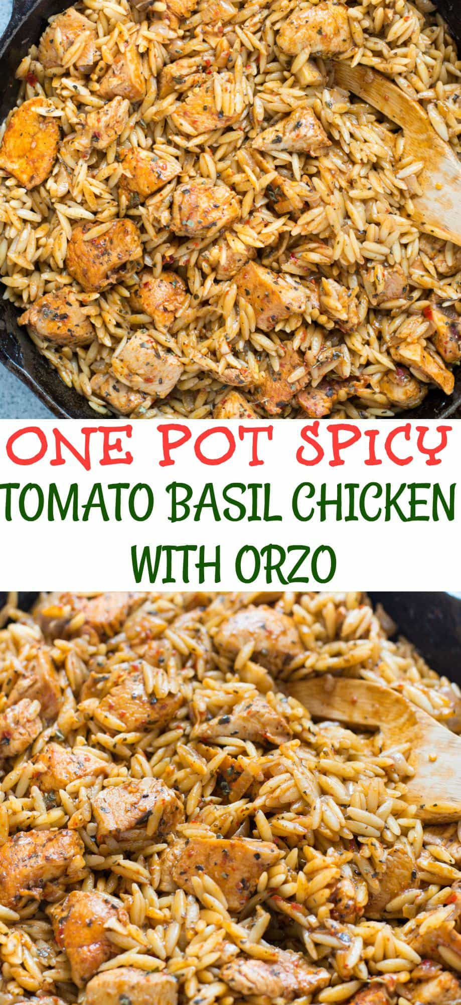 One Pot Spicy Tomato Basil Chicken With Orzo Recipe