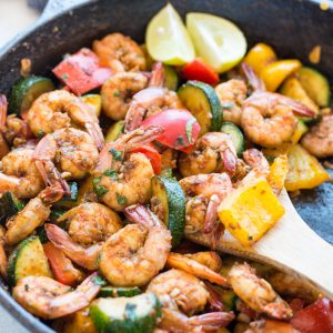 Easy Garlic Butter Shrimp and Vegetable Skillet