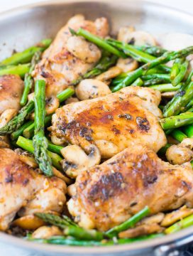 Lemon Herb Chicken, Asparagus and Mushroom Skillet