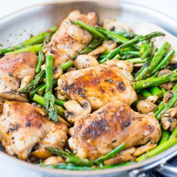 Lemon Herb Chicken, Asparagus and Mushroom Skillet