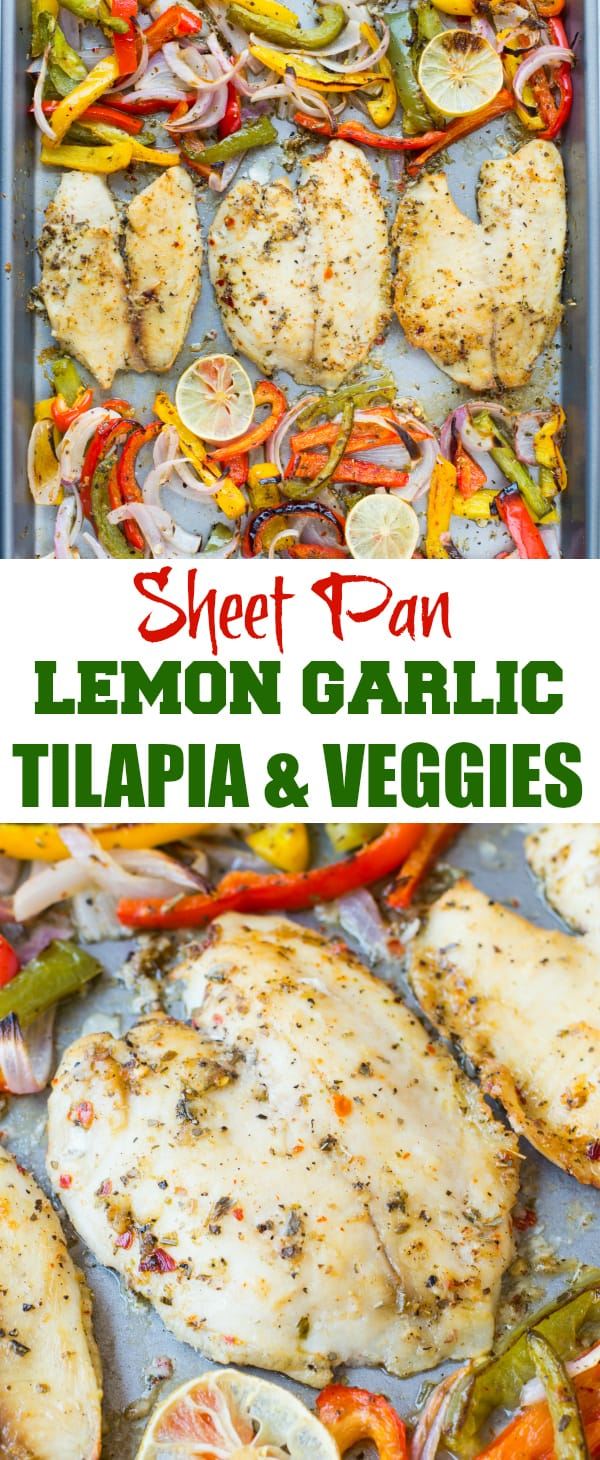 Baked Tilapia with onion and pepper in a delicious lemon garlic butter sauce. This Sheet Pan Lemon Garlic Baked Tilapia and Veggies is a healthy dinner  made in under 20 minutes.