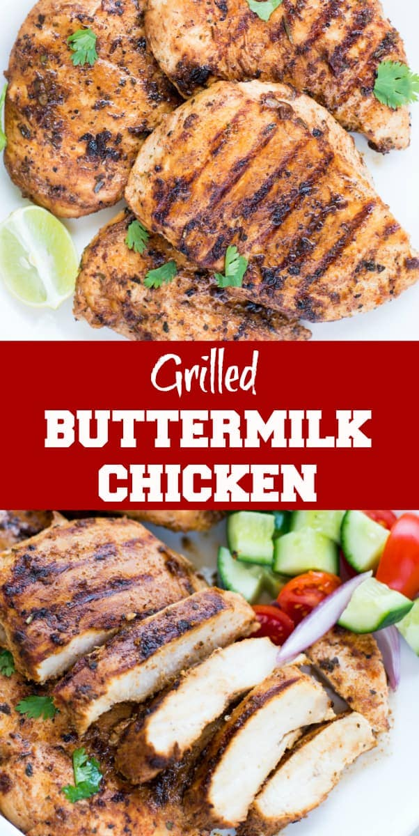 Grilled Chicken with Buttermilk Marinade is juicy and flavourful. This Grilled Chicken Marinade made with Buttermilk, garlic, herb, spice marinade is easy and quick to make. Best for a quick weeknight dinner or for summer barbecues.
