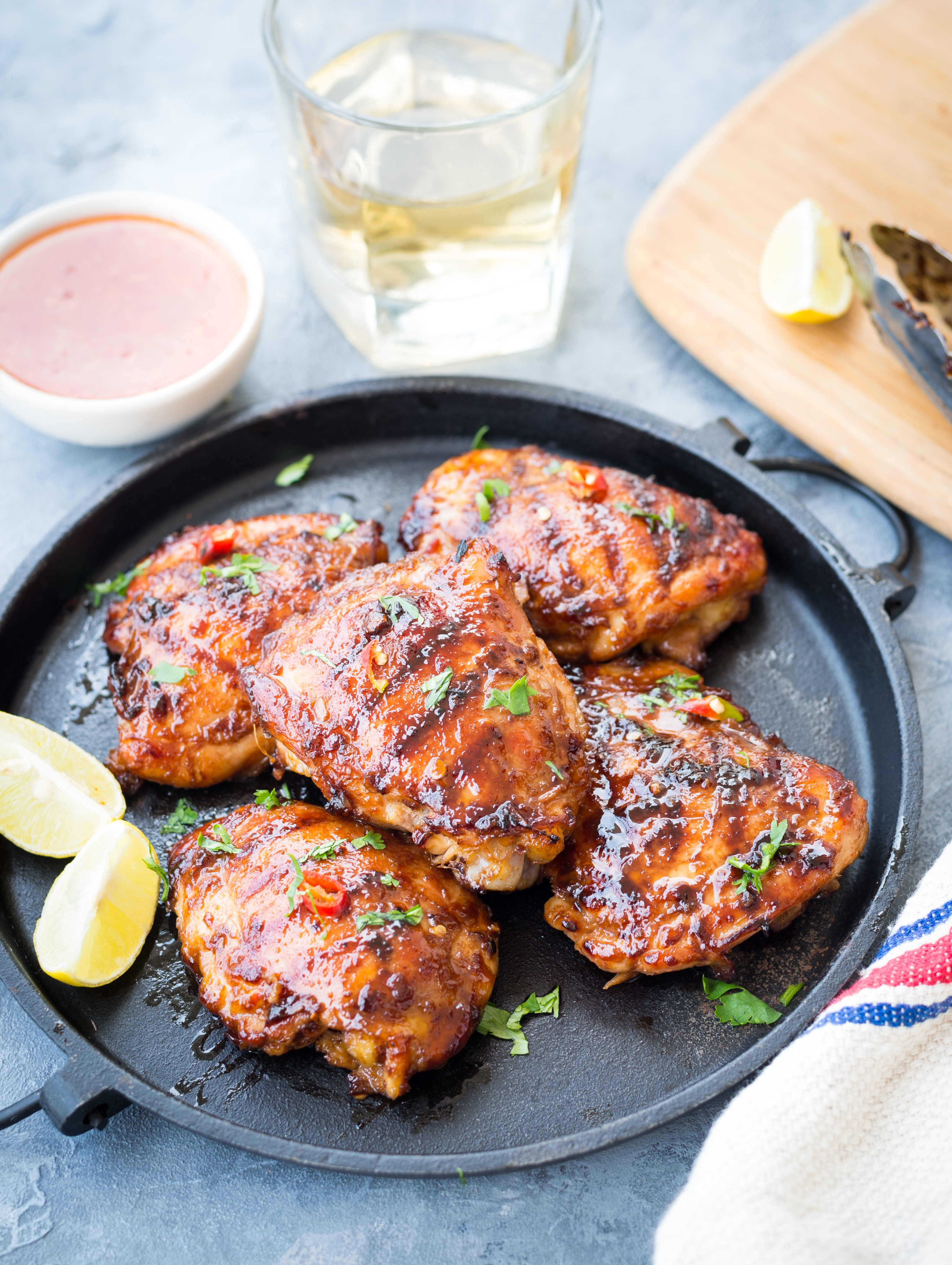 This Sweet and Spicy Thai Grilled Chicken has real Thai flavours. Chicken thighs marinated in Thai Sweet Chili Sauce, Lemongrass, fish sauce and grilled to perfection.