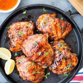 This Sweet and Spicy Thai Grilled Chicken hasreal Thai flavours. Chicken thighs marinated in Thai Sweet Chili Sauce, Lemongrass, fish sauce and grilled to perfection.