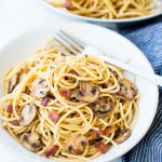Garlic Mushroom Spaghetti With Bacon is an easy weeknight dinner, made with just handful of ingredients. This Mushroom Pasta is packed with flavour and takes just 20 minutes from start to end.