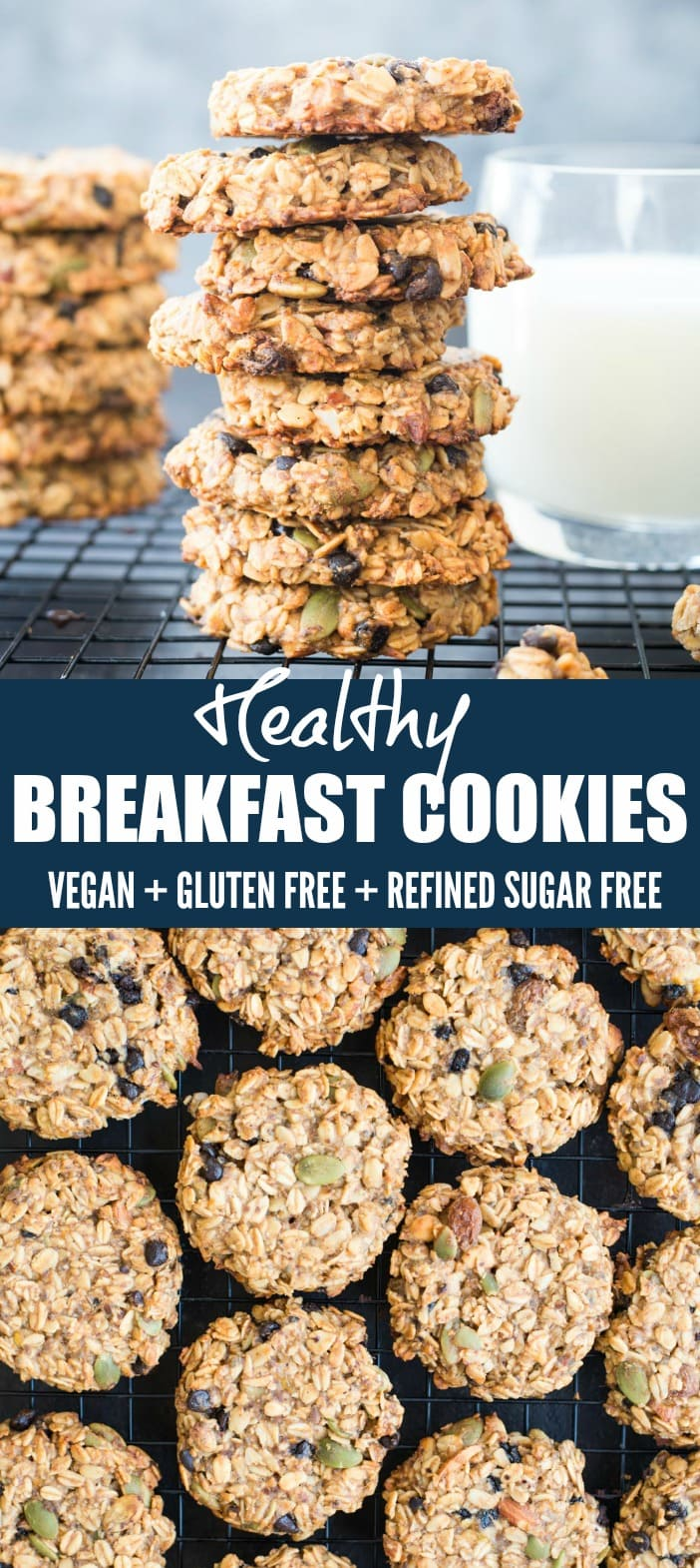 These Healthy Breakfast Cookies made with Banana, Oatmeal, nuts, seeds are gluten-free and Vegan. These make-ahead breakfast cookies are perfect for busy mornings.