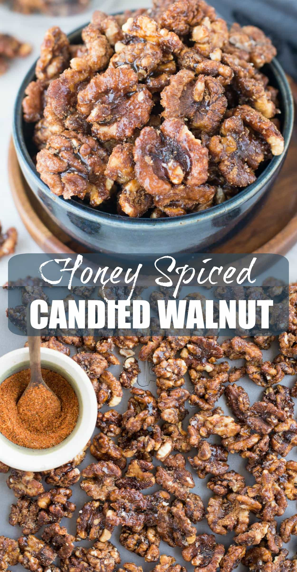 These Candied walnuts are roasted with honey and spices till crunchy, then tossed in brown sugar. Honey Spiced Candied Walnuts are addictive snacks, can be added to salads and perfect for gifting this holiday season.