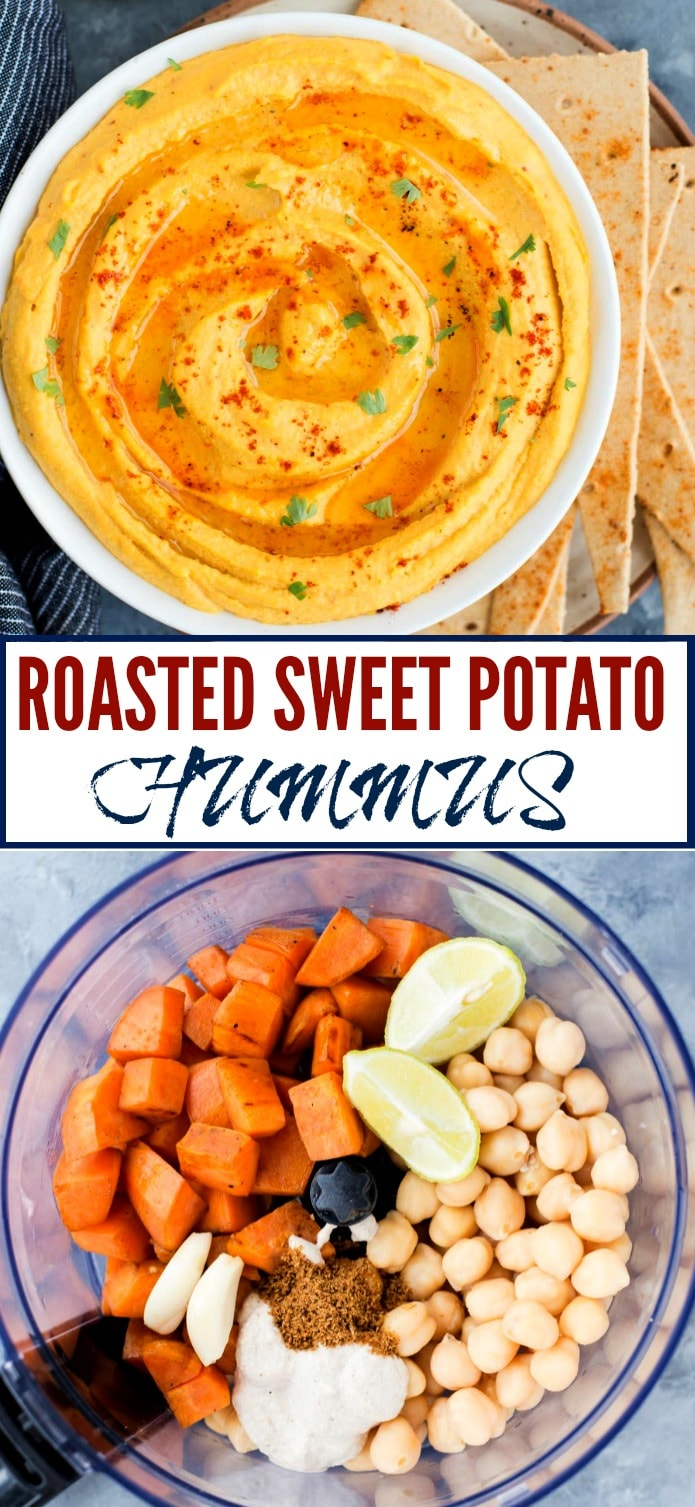 This easy Roasted Sweet Potato Hummus is creamy, delicious and has a hint of sweetness from the Sweet potato. This homemade hummus is great as a dip or as a healthy spread on wraps and sandwiches.