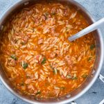 This One Pot Italian Sausage Orzo Soup with Spicy Italian Sausage, Orzo Pasta with rich tomato flavour is delicious and takes only 20 minutes to make.