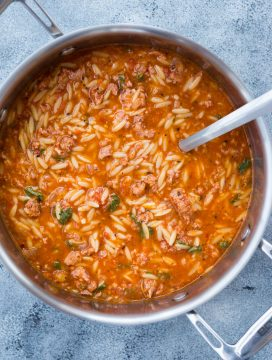 This One Pot Sausage Orzo Soup with Spicy Italian Sausage, Orzo Pasta with rich tomato flavour is delicious and takes only 20 minutes to make.