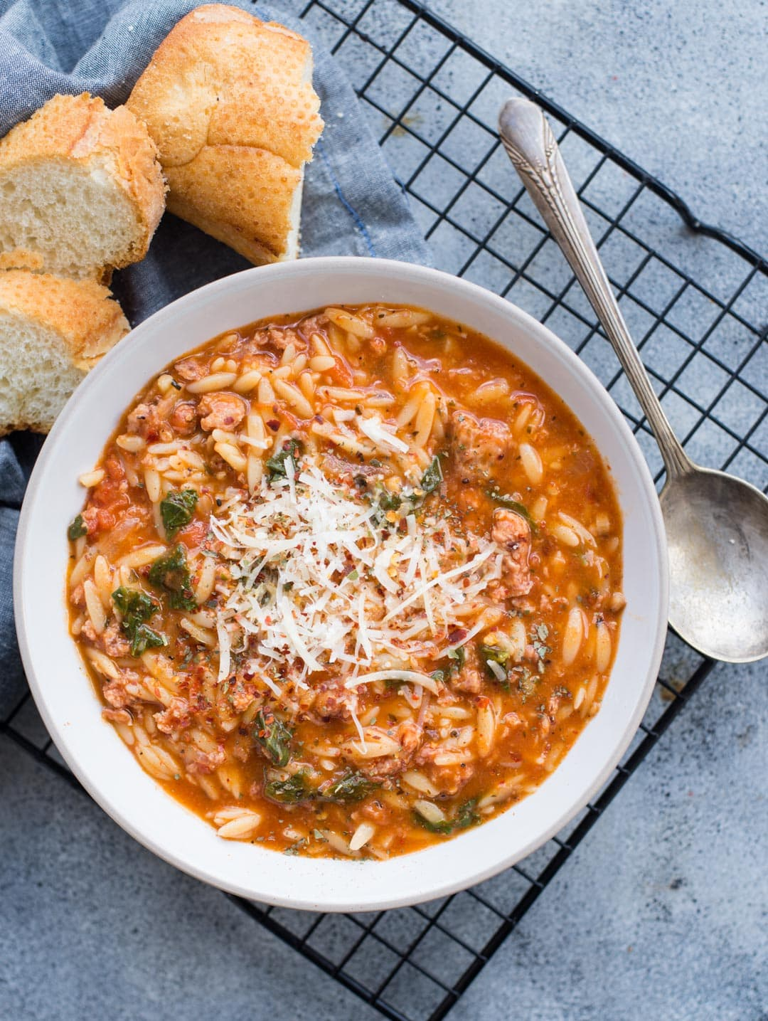This Orzo Soup with Spicy Italian Sausage, Orzo Pasta with rich tomato flavour is delicious and takes only 20 minutes to make.
