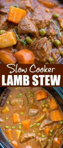 Slow Cooker Lamb Stew with tender fall apart lamb chunks and hearty vegetables have a rustic flavourful wine based gravy. This Lamb Stew is definitelygoing to keep you warm in the winter.