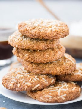 Chewy Coconut Cookies with Brown Butter has a nutty flavour from Brown butter and toasted Coconuts flakes. These easy to bake Coconut Cookies have a crispy edge and a soft chewy centre.