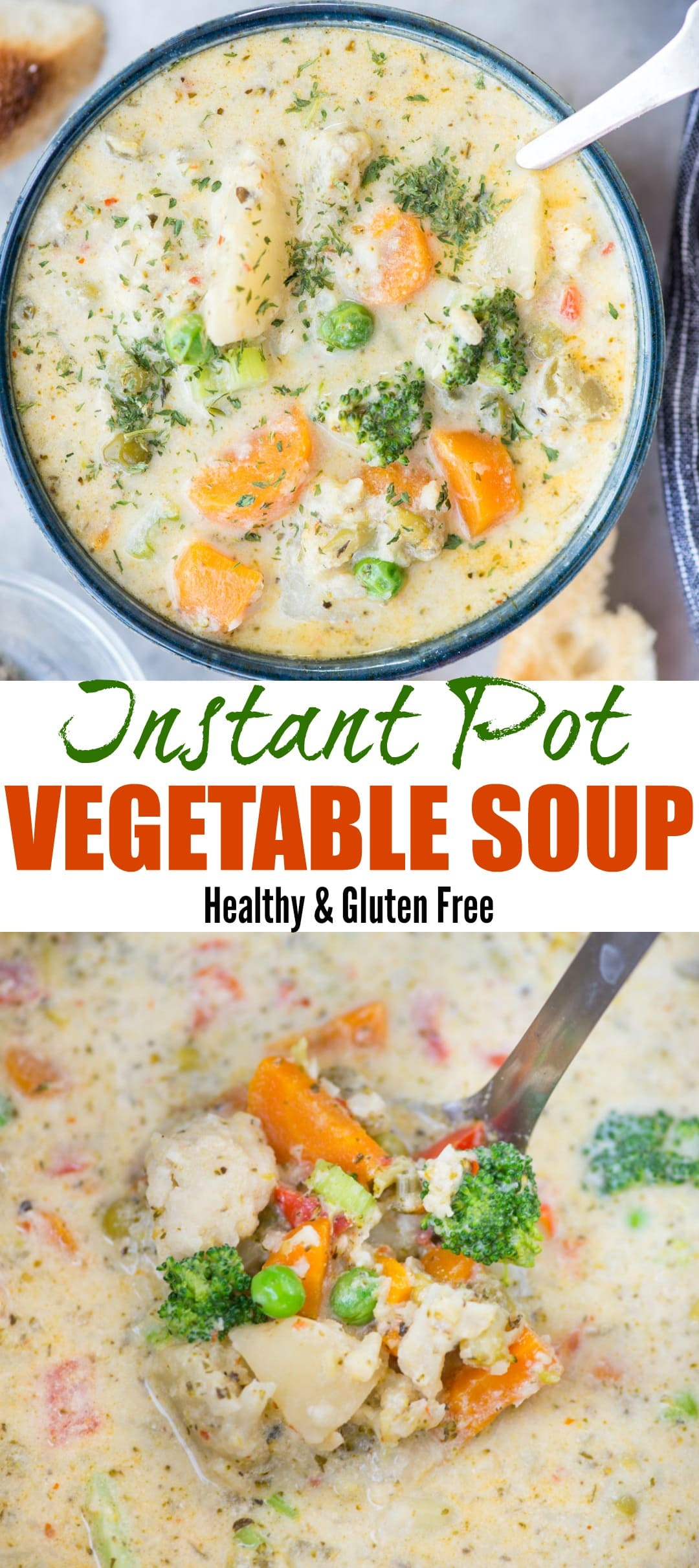 Creamy Vegetable Soup made with loads of vegetable is healthy and gluten-free. The soup has the richness from Parmesan Cheese and is really filling. There are instructions to make this soup both in the Instant Pot and Stovetop.