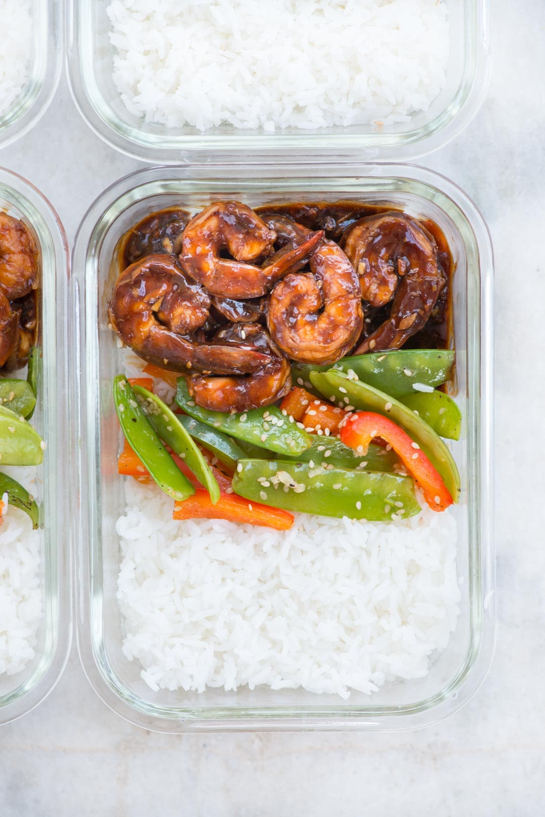 Vegetable Shrimp Stir fry with an incredible sauce takes less than 30 minutes to prepare. Make it ahead and it is perfect for healthy meal prep.