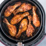 Air fryer chicken coated with a sweet and spicy dry rub is really juicy and as good as deep-fried version. This air fryer Chicken Recipe takes only 15 minutes to make.