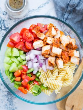 Chicken Pasta Salad for summer barbecues or light lunch. Grilled Chicken, Pasta and veggies tossed in a refreshing Lemon Herb Dressing is so delicious and filled with goodness.