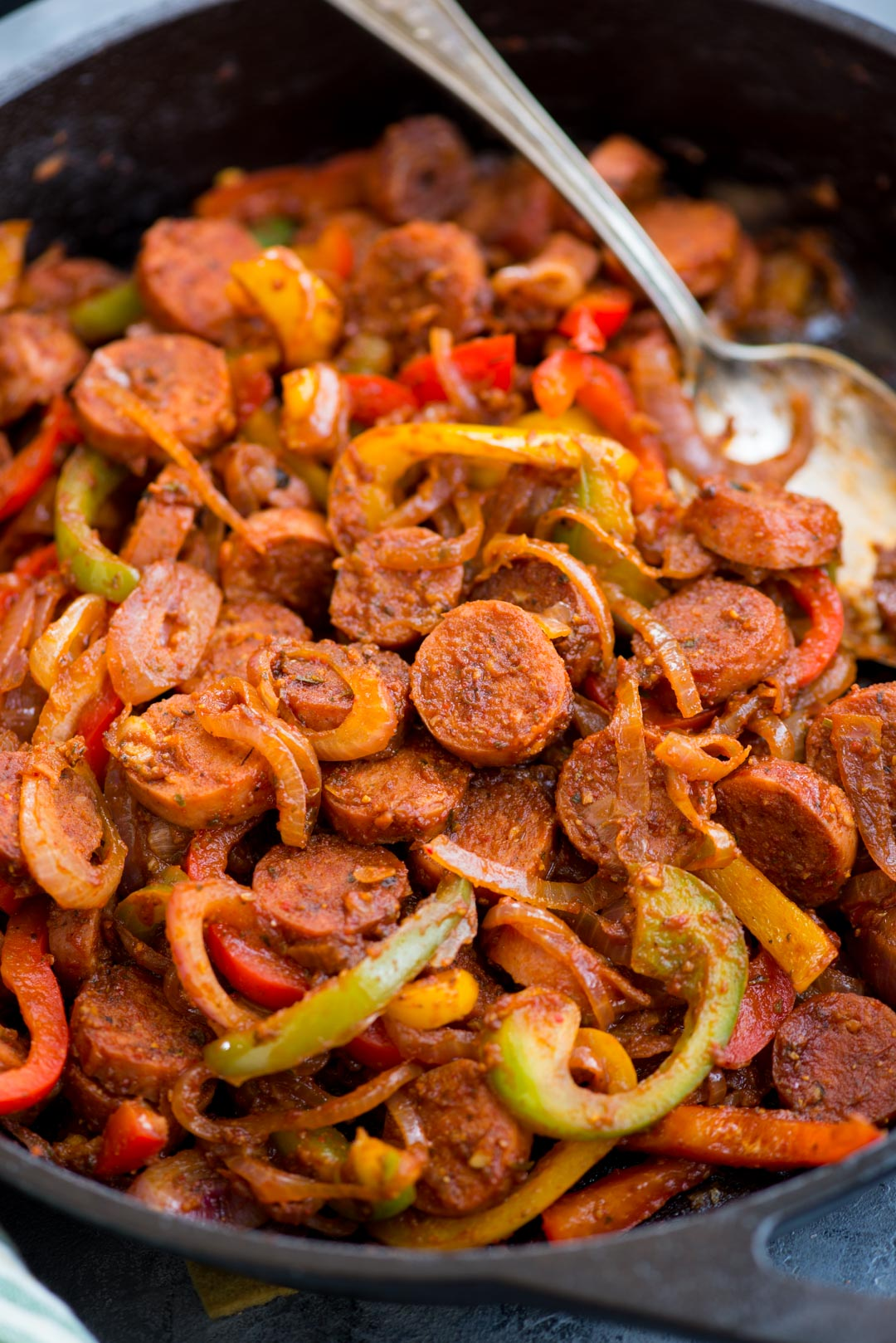 This Cajun Sausage and peppers skillet with caramelized onions, Crunchy peppers, is so flavourful. You need less than 30 minutes and one pan to make this dinner on a busy weeknight.