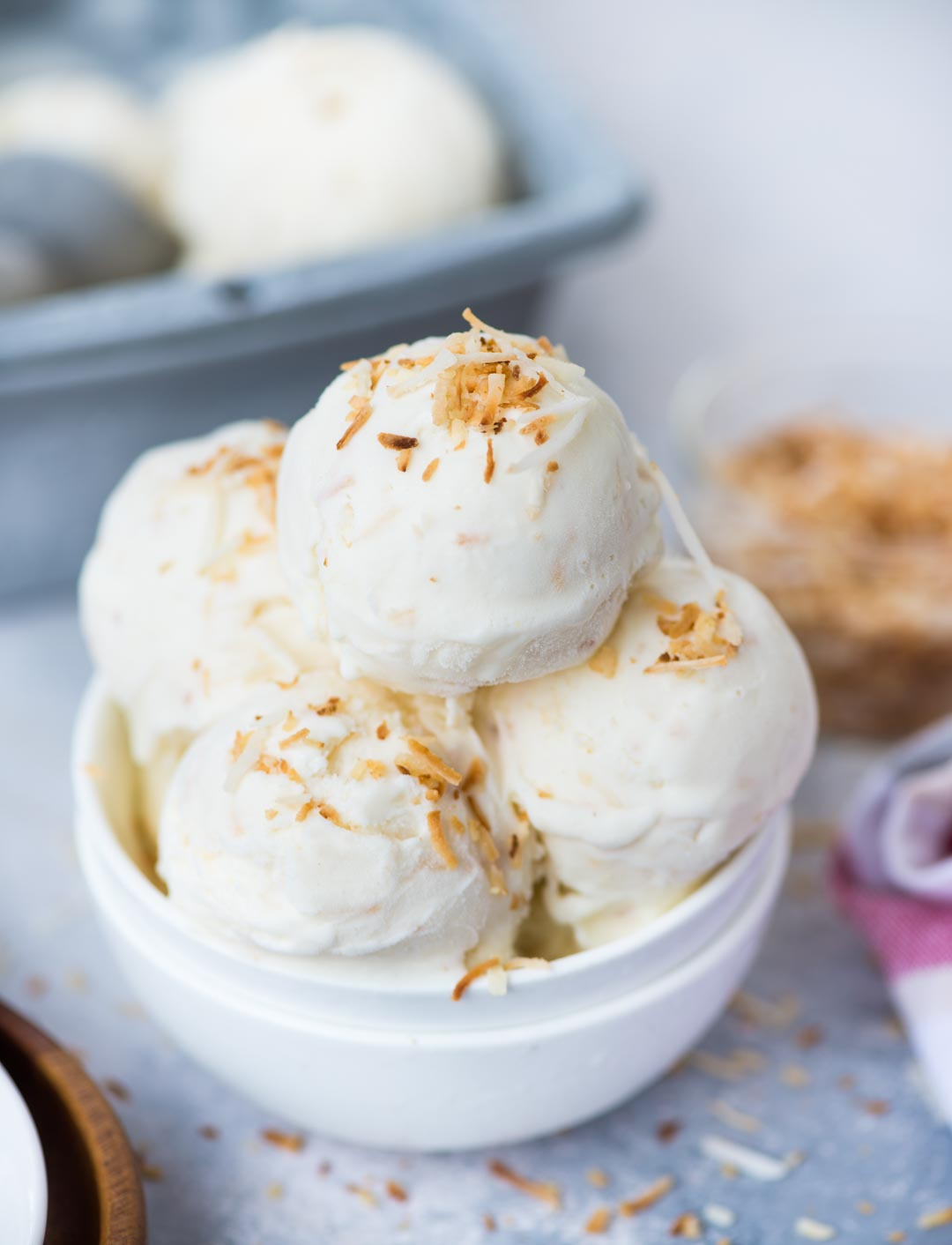 With real coconut flavour , this Coconut milk Ice Cream is so easy to make. It is no churn and you don't even need an Ice cream maker. Beautiful light texture and Creamy, this Coconut Ice Cream is a must try in Summer.