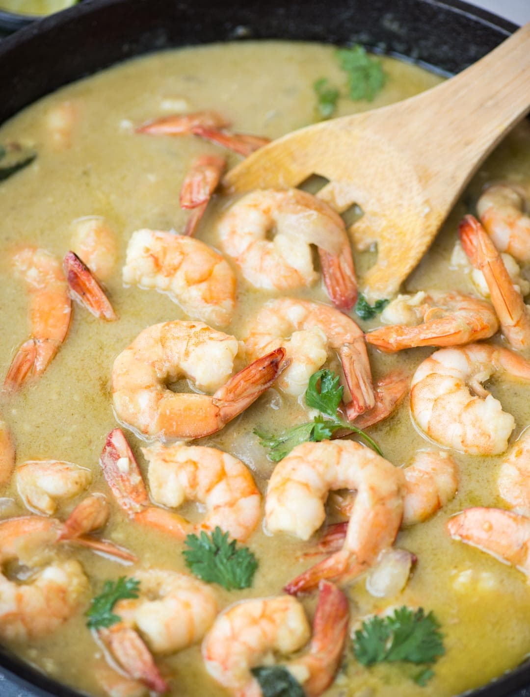 Delicious Shrimp Curry simmered in Thai Green green curry paste and creamy coconut milk takes less than 20 minutes to make.
