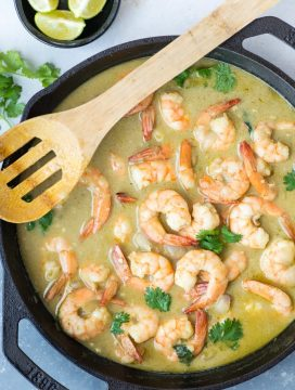 Delicious Thai Shrimp Curry simmered in Thai Green green curry paste and creamy coconut milk takes less than 20 minutes to make.