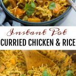 Instant Pot Chicken and rice - curried chicken and rice made in the Instant Pot is flavoured with garlic, ginger and curry powder. Fluffy basmati rice, chicken, carrot, peas, this wholesome meal is definitely going to impress you.