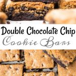 Double chocolate chip cookie bars with a fudgy chocolatey bottom are soft, chewy and made in a sheet pan. These Chocolate Chip Cookie Bars are made with single cookie dough (no separate dough for both the layers).