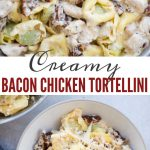Creamy Chicken Tortellini with bacon and sundried tomato is comforting and easy dinner recipe- loaded with juicy chicken, bacon, sundried tomatoes and a delicious cream sauce.
