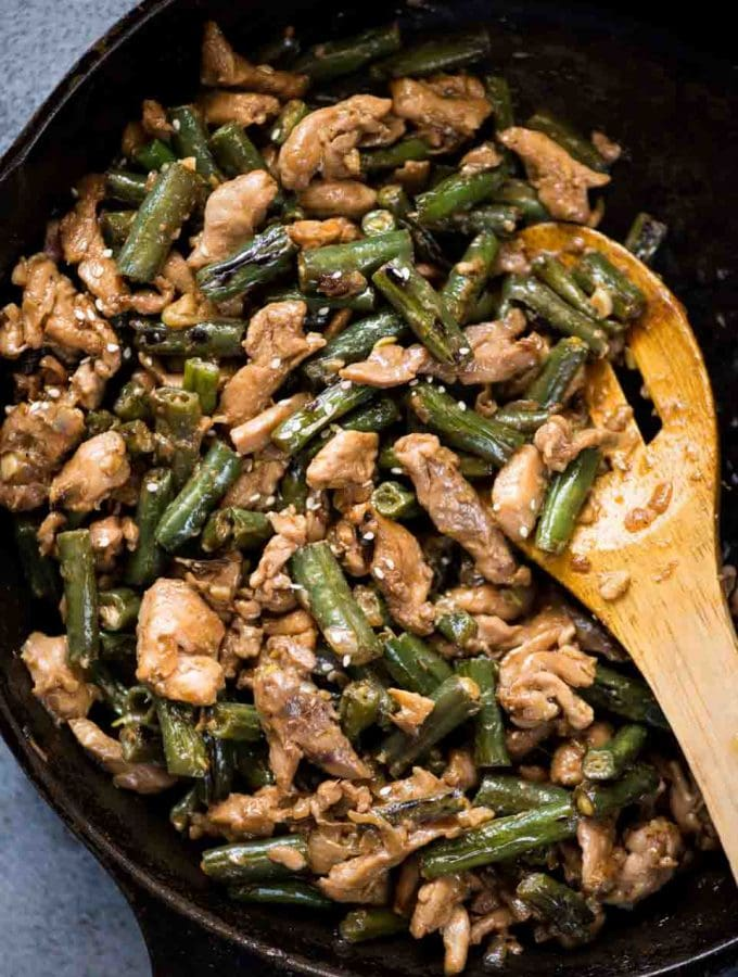 Packed with umami, this Chicken and Beans Stir Fry made with Chicken thighs, green beans tossed in a flavorful stir fry sauce.