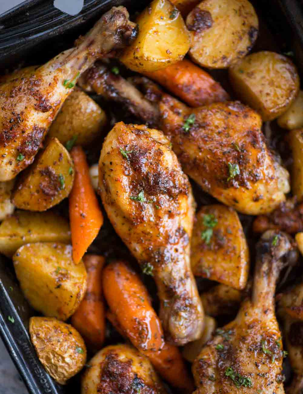 This baked Chicken legs with vegetable is a delicious one-pan dinner with minimal effort. Chicken and vegetables tossed in a ranch marinade and cooked until tender and juicy.