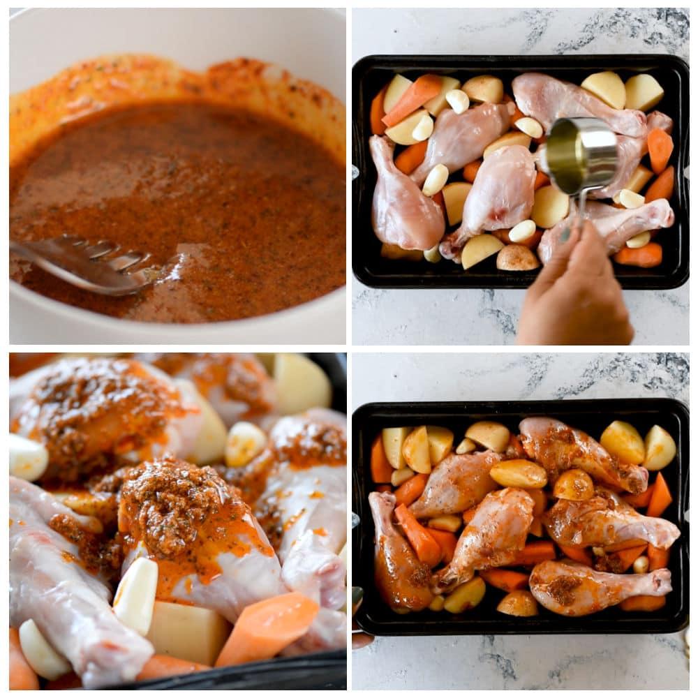 4 steps to bake chicken legs in ranch seasoning