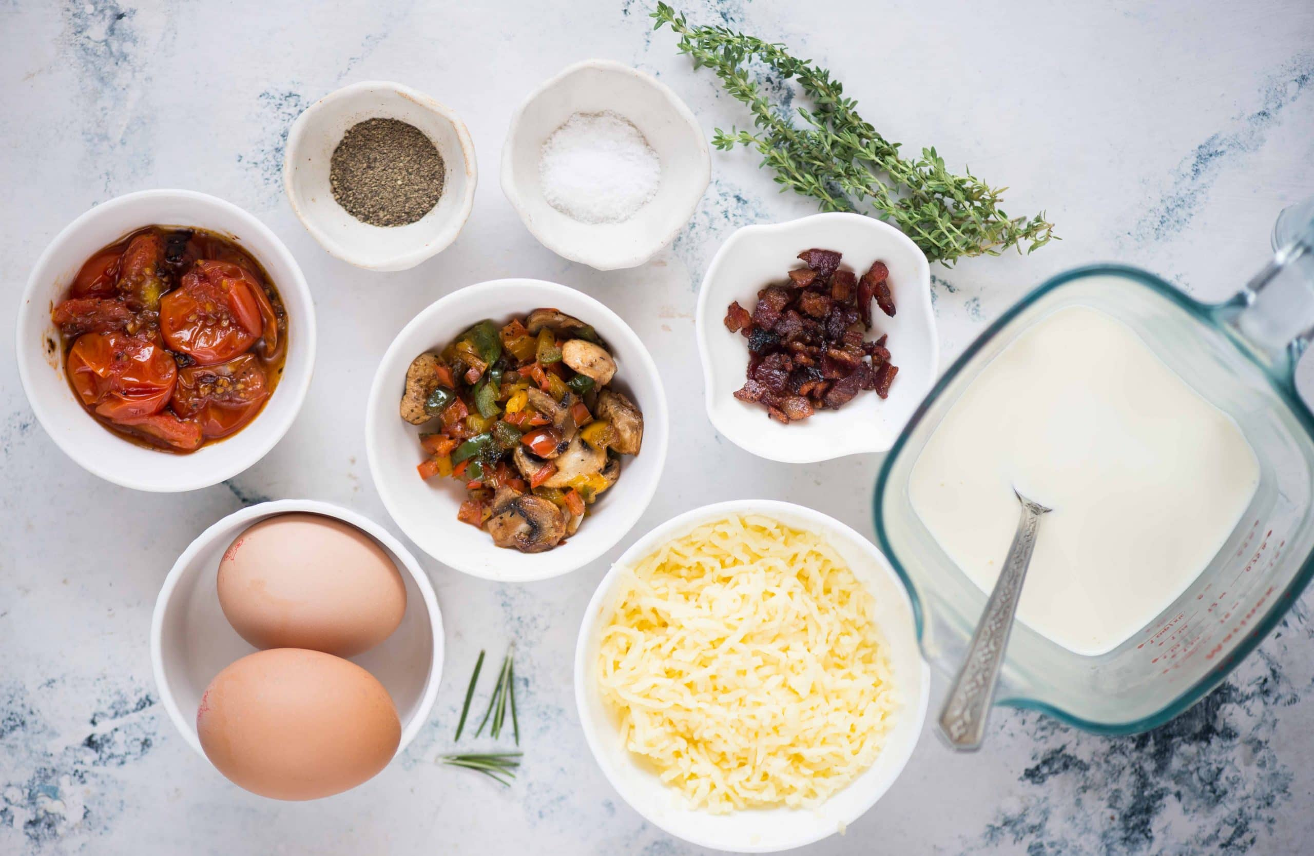 Ingredients for baked eggs.